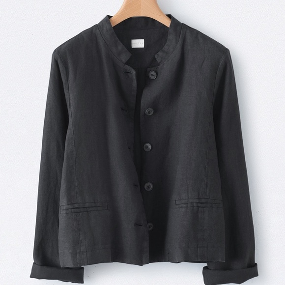 Poetry Jackets & Blazers - Poetry Short Jacket XL linen in washed black